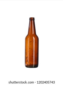 empty beer bottle on a white background