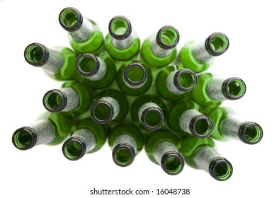 Empty Beer Bottles Isolated on White - Concept of Alcohol Consumption or Recycling