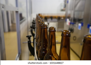 Empty beer bottles, on a conveyor belt, Binding brewery