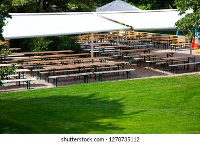 Empty beer garden in summer