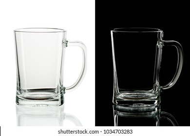 Empty beer glass with handle on black and white background, isolated