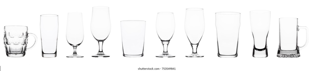 Empty beer glasses on white background