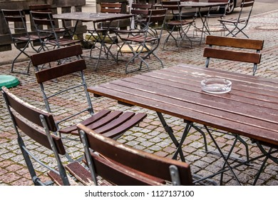 Empty Beergarden without Visitors on a rainy day in Germany