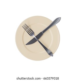 Empty beige plate with crossed fork and knife, isolated on white background. Top view. 3d image