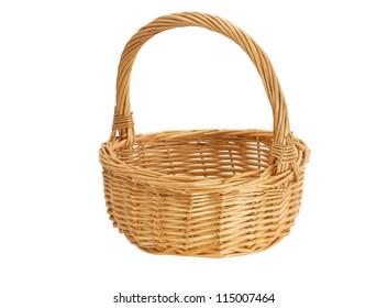 Empty beige wicker basket on a white background