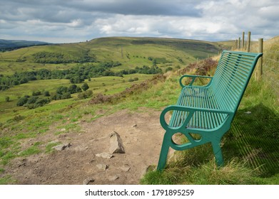 An Empty Bench Looking Out Over Beautiful English Countryside With Rolling Hills and Moorland In The Background | A Peaceful and Relaxing Place To Sit In Lancashire And Admire The Natural Beauty