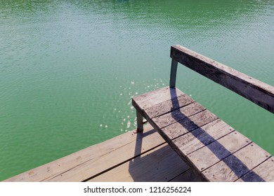 An empty bench on a green lake. Simplify concept.