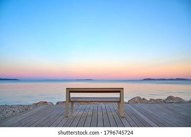 empty bench on  sunset in hyeres var france