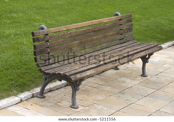 empty bench in a public park