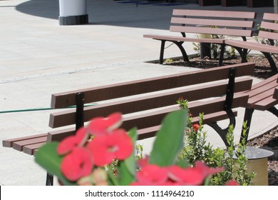 An empty bench to rest your tired feet