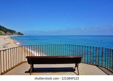 Empty bench at Sant Pol de Mar