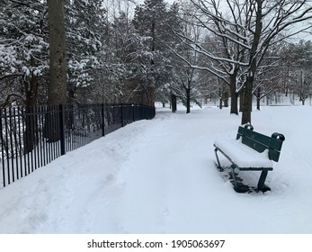 Empty bench at the winter after a snow storm