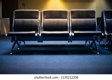 Empty benches in airport.