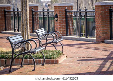 empty benches in a city park in spring