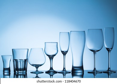 Empty beverage glasses