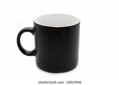 Empty big black office mug isolated on white background
