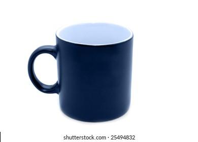 Empty big black office mug toned in blue isolated on white