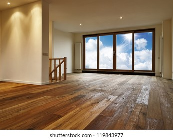 Empty big living room, there is a path for the windows