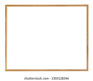 empty big narrow brown wooden picture frame with cut out canvas isolated on white background