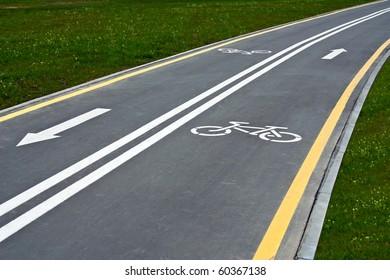 An empty bike lane in downtown