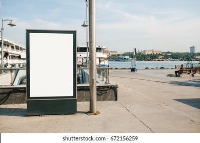 An empty billboard for advertising on the street near the seaport in Istanbul, Turkey. Street advertising.