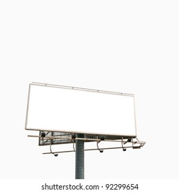 Empty billboard isolated over white background