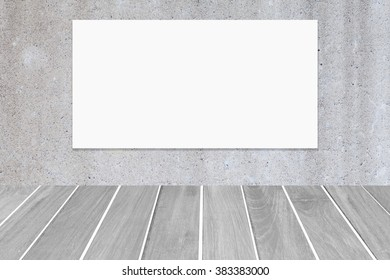 Empty billboard on concrete wall and white wooden floor