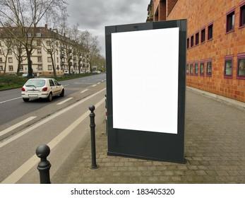 Empty billboard on the street