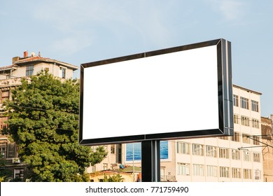 An empty billboard for outdoor advertising in Istanbul, Turkey. Street advertising.