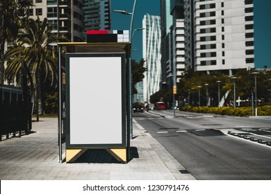 Empty billboard placeholder template on the bus stop with the road on the right; blank advertising banner mock-up in urban settings; white empty informational signboard near the highway
