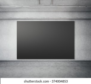 Empty billboard screen on the concrete gray background. 3d render