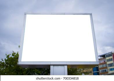 Empty billboard screen on the old street