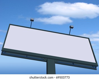 Empty billboard at sky background