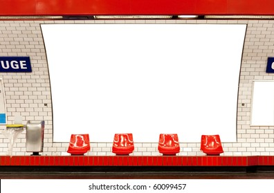 empty billboard in subway paris clipping path included