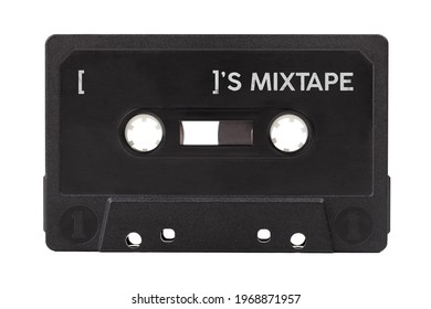 Empty black blank audio cassette own personal mixtape, personalized media playlist, music dj mix tape concept, object isolated on white, cut out. Place for the name, nametag, retro cassette template