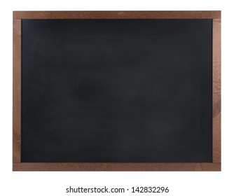 An empty black board (chalk board) isolated on white