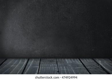 Empty black board and wooden floor