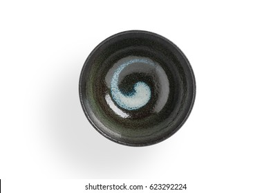 Empty black bowl Japanese style on white background, clipping path included.