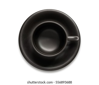 Empty black coffee cup isolated on white background.