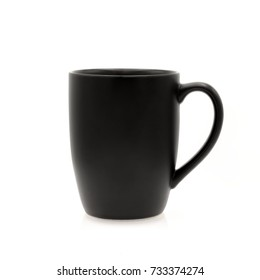 Empty Black cup made from ceramic on white background