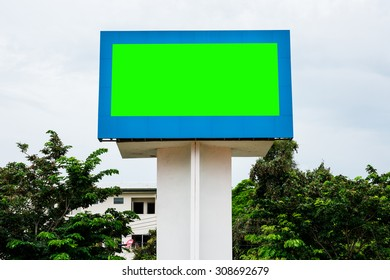 Empty black digital billboard green screen for advertising
