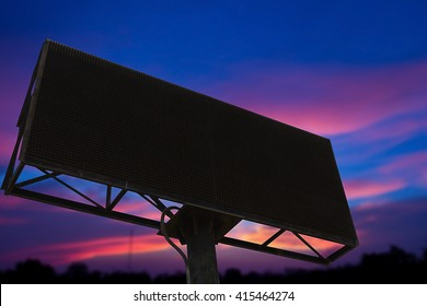 Empty black digital billboard screen for advertising.Advertising wall on sky.