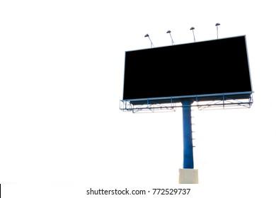 Empty black digital billboard screen for advertising on white