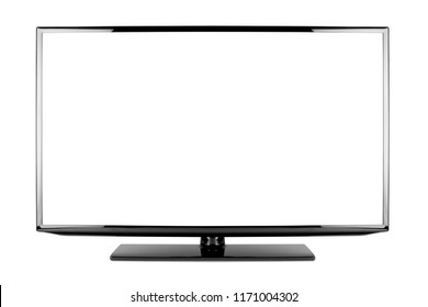 empty black flat tv screen computer monitor display panel television isolated on white background