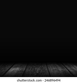 Empty black interior background - dark wall and floor