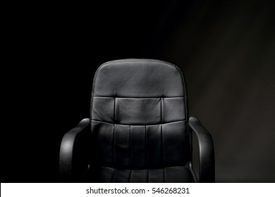 Empty Black Leather Office Chair