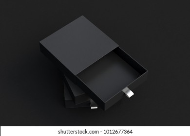 Empty black opened sliding box and closed sliding drawer boxes stack on black background. 3d illustration.