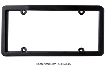 Empty black plastic car license plate frame. Horizontal.