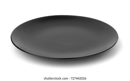 Empty black plate isolated on white