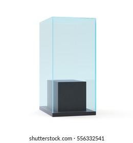 empty black showcase with pedestal. 3d illustration isolated on white background.